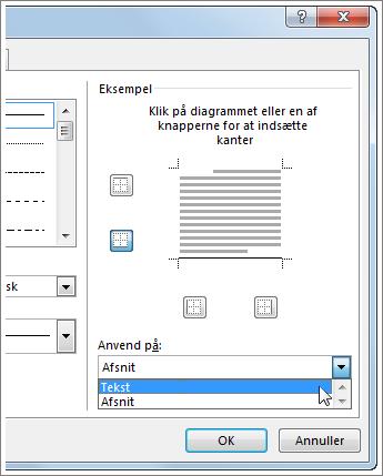 Rullemenuen Anvend på i dialogboksen Kanter og skygge