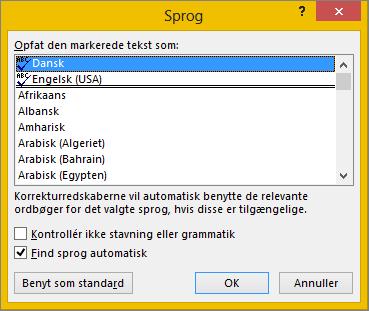 Dialogboksen Sprog