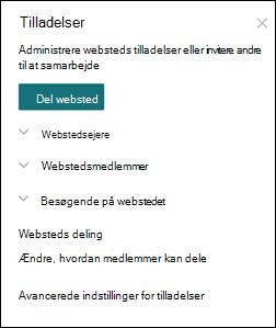 SharePoint-websteds tilladelses panel