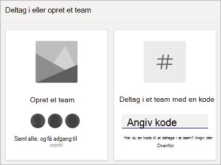 Angiv en teamkode i Deltag i et team med en kode flise