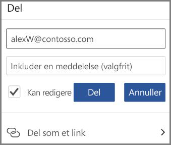 Viser deling via mail, angiv mail, og markér Kan redigere