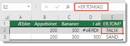 Brug ER.TOM til at identificere potentielle fejl – formlen i celle E2 er =ER.TOM(A2)