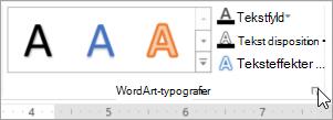 Valg af dialogboksstarteren WordArt-typografier