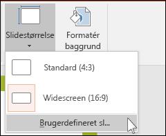 Viser dialogboksen i PowerPoint, hvor du kan vælge en brugerdefineret slidestørrelse