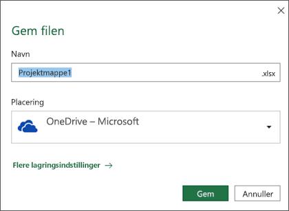 Dialogboksen Gem i Microsoft Excel til Office 365