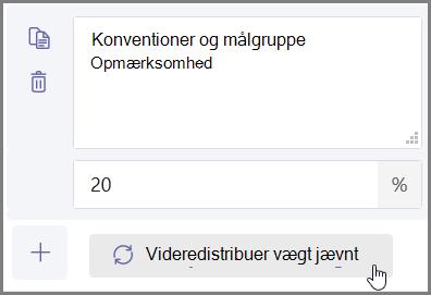 """Klik på knappen """"Fordel vægt jævnt"""" for at tildele procent og point automatisk"""