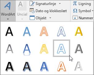 Vælge en WordArt-indstilling