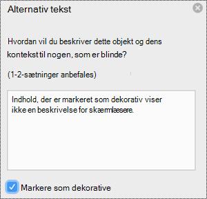 Afkrydsningsfeltet Markér som dekorativ markeret i ruden alternativ tekst i Excel til Mac