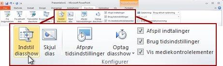Gruppen Konfigurer under fanen Diasshow på båndet i PowerPoint 2010