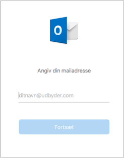 Det første skærmbillede, du får vist, beder dig om at angive din mailadresse