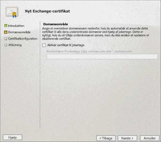 Siden Domæneomfang i guiden Exchange-certifikat til Exchange 2010.