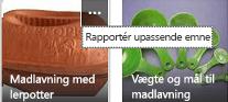 Klik på mere (...) kommandoen i øverste højre hjørne af et element, for at rapportere den som uønsket indhold.