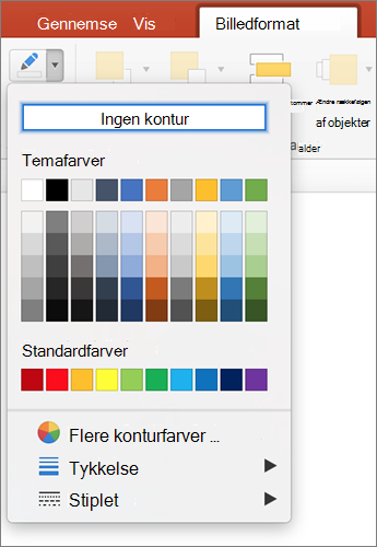 Klik på ikonet billede disposition