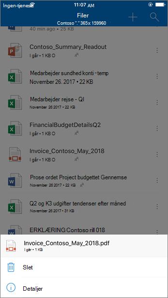 Skærmbillede af sletning af en blokeret fil fra OneDrive for Business fra OneDrive-mobilappen