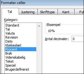Kategorien Procent i dialogboksen Formatér celler