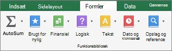 Klik på tekst under fanen formler.