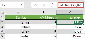 Brug EDATO til at addere eller subtrahere måneder fra en dato. I dette tilfælde = EDATO (a2; B2) hvor a2 er en dato, og B2 har det antal måneder, der skal lægges til eller trækkes fra.