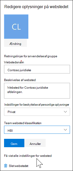 Få vist alle indstillinger for websted i SharePoint