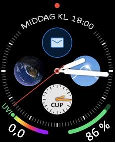 Apple Watch ansigt med mail ikon