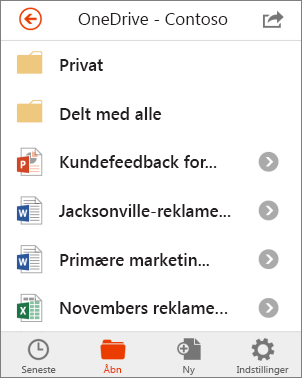 OneDrive-filer i Office Mobile