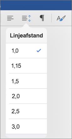 Viser indstillingerne for linjeafstand i Word til iPad.