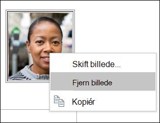 Du kan ændre eller fjerne på kontaktpersonens billede.