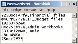 Adgangskodeliste i en tekstfil