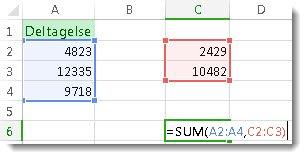 Brug af SUM med to talområder