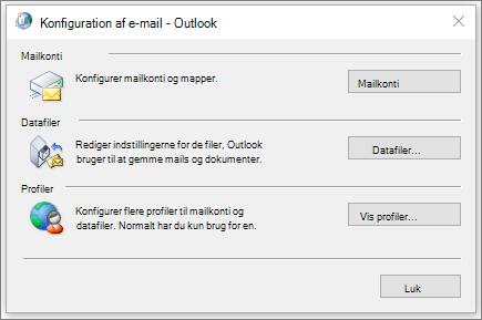 Dialogboksen mail i Kontrolpanel