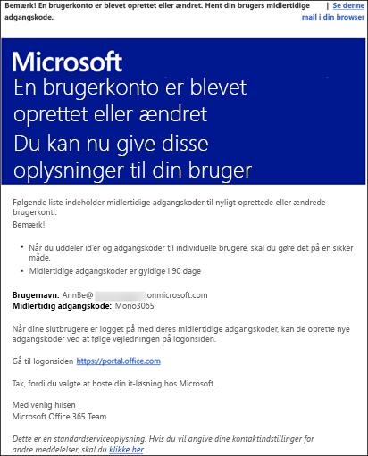 En prøvemail med Office 365-konto og logonoplysninger