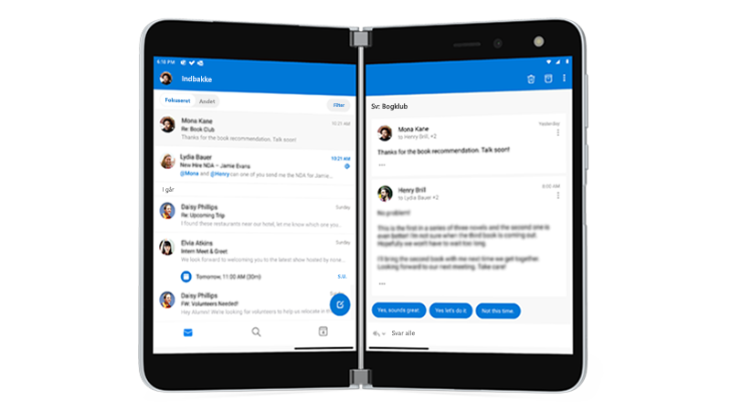 Outlook åben på Surface Duo
