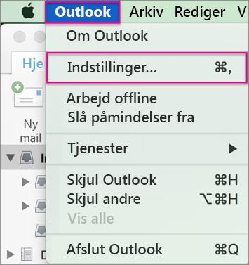 Outlook-menu > Indstillinger