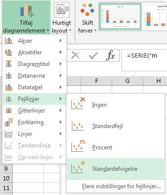 """Menuerne """"Tilføj diagramelement"""" og """"Fejllinjer""""."""
