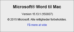 Skærmbillede, der viser siden Om Word i Word til Mac