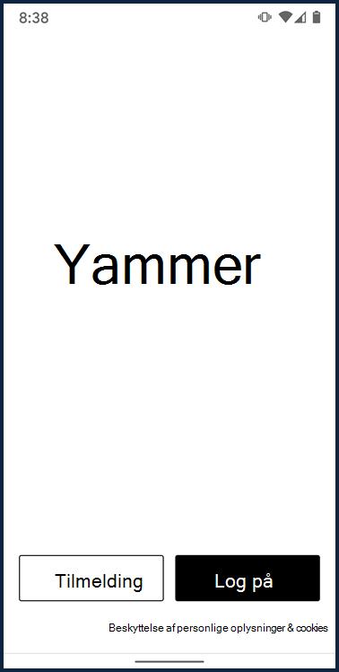 Skærmbillede, der viser logonskærmen til Yammer Android-appen
