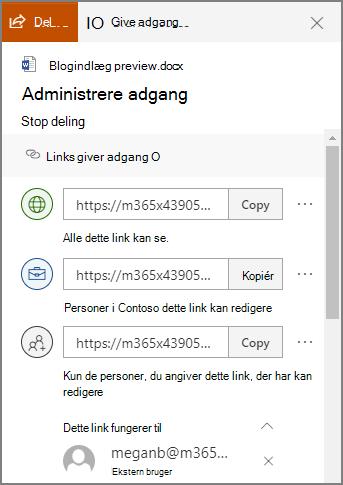 Skærmbillede af panelet Administrer adgang, der viser delingslinks.