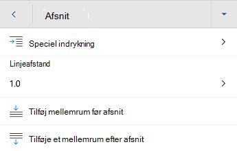Menuen formatering i Word til Android-afsnit