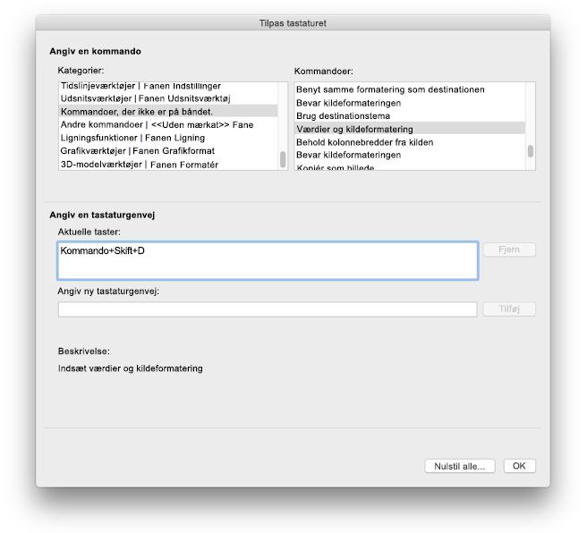 Tastaturtilpasninger for Excel til Mac