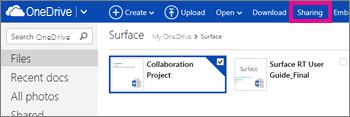 Klik på Deling i OneDrive