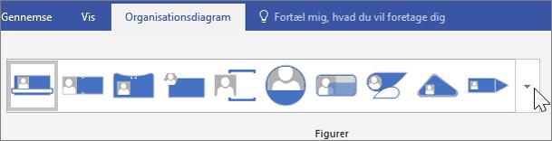Skærmbillede af værktøjslinjen Organisationsdiagram