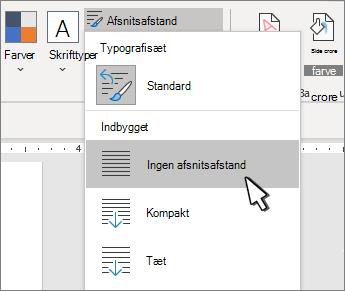 Angive et enkelt mellemrum i dokumentet