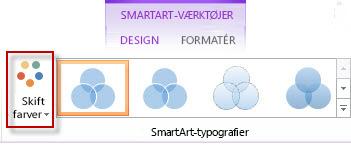Indstillingen Skift farver i gruppen SmartArt-typografier