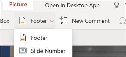 Viser sidefødder og slide numre i PowerPoint