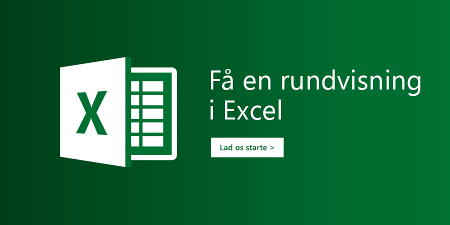 """Skabelonen """"Få en rundvisning"""" i Excel"""