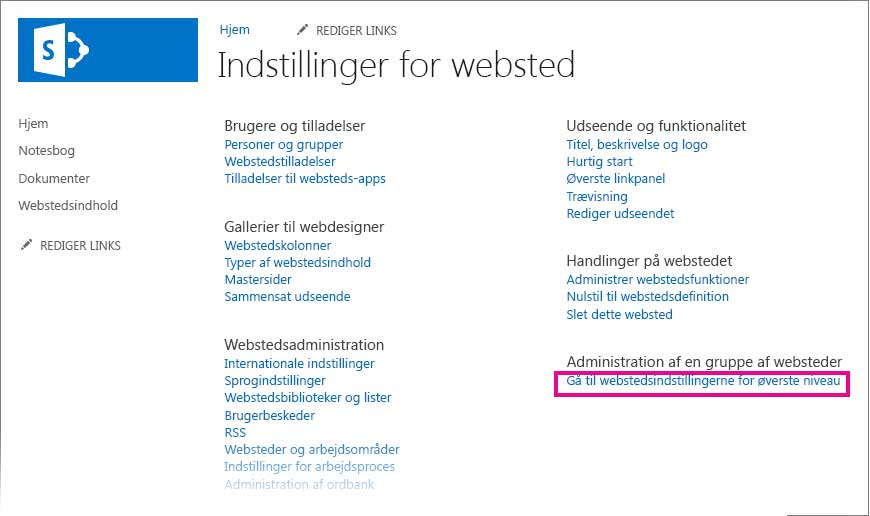 Gå til webstedsindstillingerne for øverste niveau