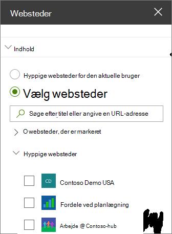 Indstillinger for webdelen websteder