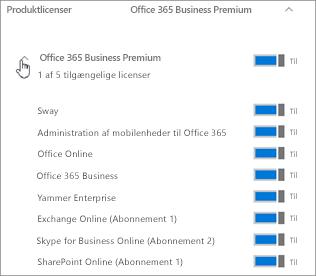 Udvid abonnementet for at se, hvilke tjenester i Office 365 der er inkluderet i licensen.