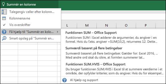 Klik på feltet Fortæl mig det i Excel, og skriv, hvad du gerne vil gøre. Fortæl mig det vil forsøge at hjælpe med at udføre denne opgave.