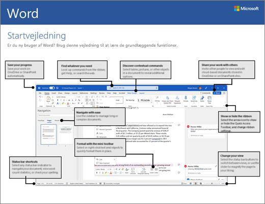 Startvejledning til Word 2016 (Windows)