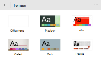 Menuen Temaer i PowerPoint til Windows Phones.